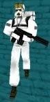 White antartica gun man