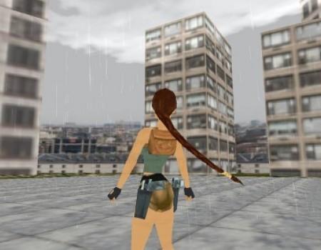 3D rainy city day