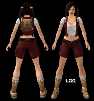 Young Lara (Red With Backpack) Outfit