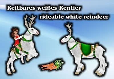Rideable white reindeer