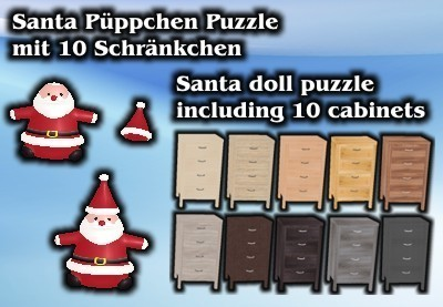 Santa doll puzzle with 10 cabinets