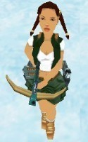 Young Lara (with rucksack)
