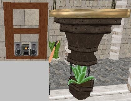 Pool plant and shelf with stereo
